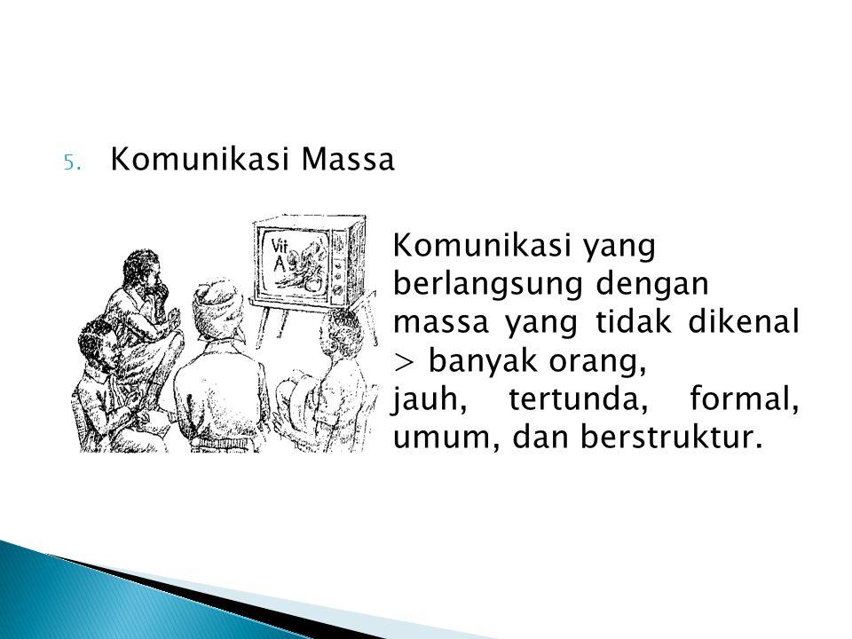 5. Komunikasi Massa Komunikasi yang berlangsung dengan massa yang tidak dikenal > banyak orang, jauh, tertunda, formal, umum, dan berstruktur.
