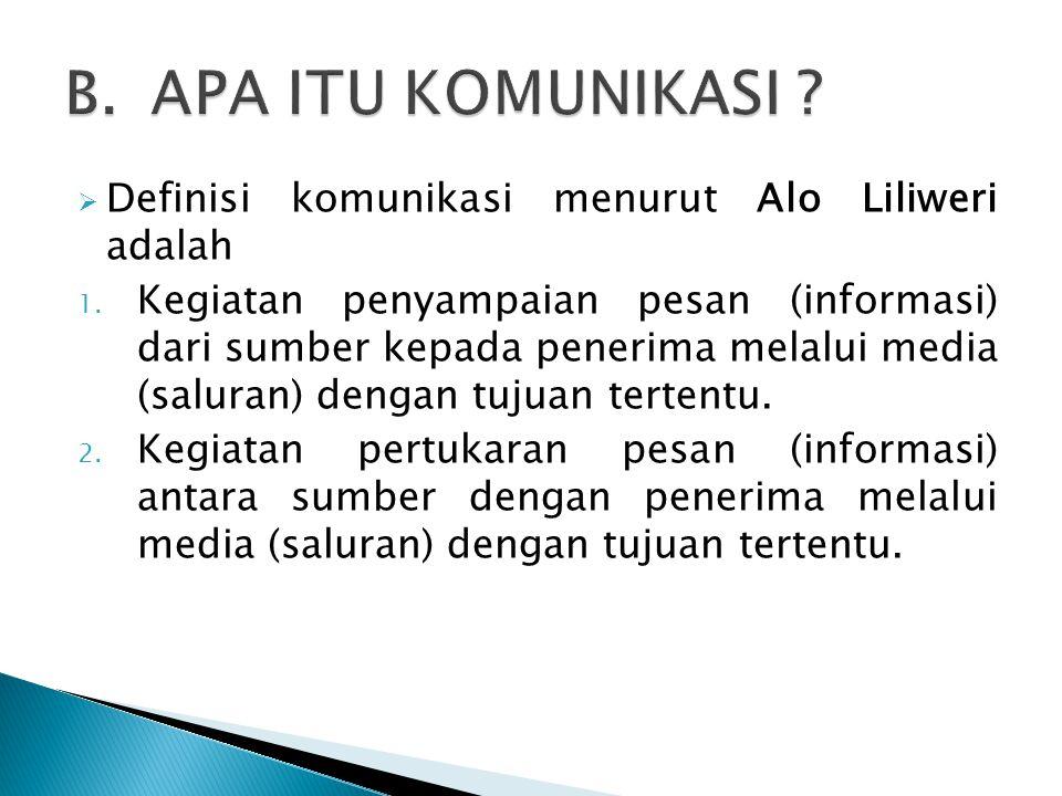  Definisi komunikasi menurut Alo Liliweri adalah 1. Kegiatan penyampaian pesan (informasi) dari sumber kepada penerima melalui media (saluran) dengan