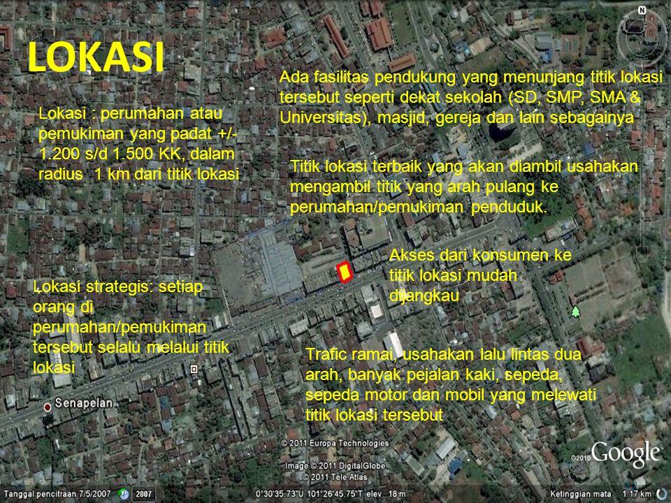 LOKASI 12 Lokasi : perumahan atau pemukiman yang padat +/- 1.200 s/d 1.500 KK, dalam radius 1 km dari titik lokasi Lokasi strategis: setiap orang di p