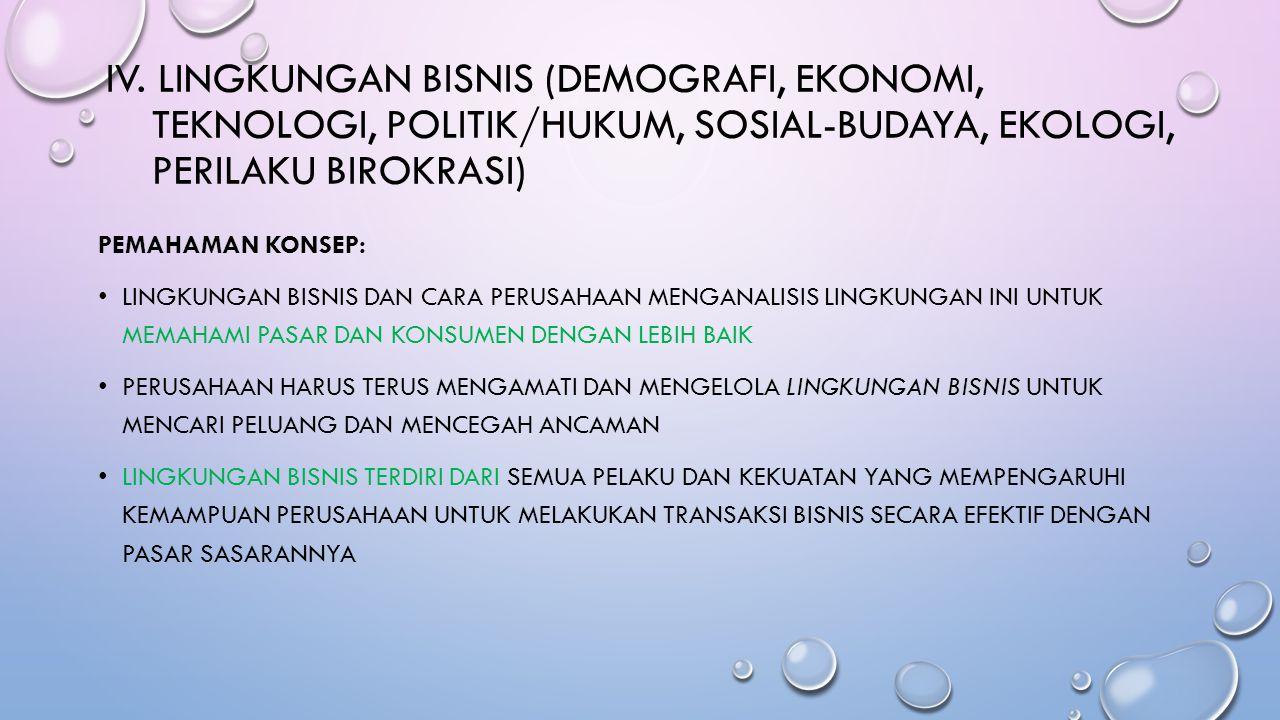 IV. LINGKUNGAN BISNIS (DEMOGRAFI, EKONOMI, TEKNOLOGI, POLITIK/HUKUM, SOSIAL-BUDAYA, EKOLOGI, PERILAKU BIROKRASI) PEMAHAMAN KONSEP: LINGKUNGAN BISNIS D
