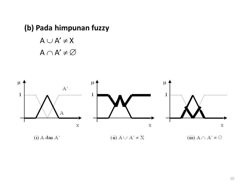 (b) Pada himpunan fuzzy A  A'  X A  A'   10