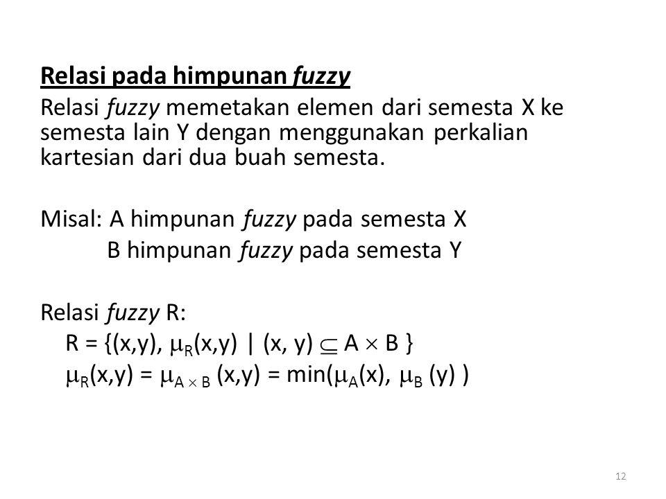 Relasi pada himpunan fuzzy Relasi fuzzy memetakan elemen dari semesta X ke semesta lain Y dengan menggunakan perkalian kartesian dari dua buah semesta