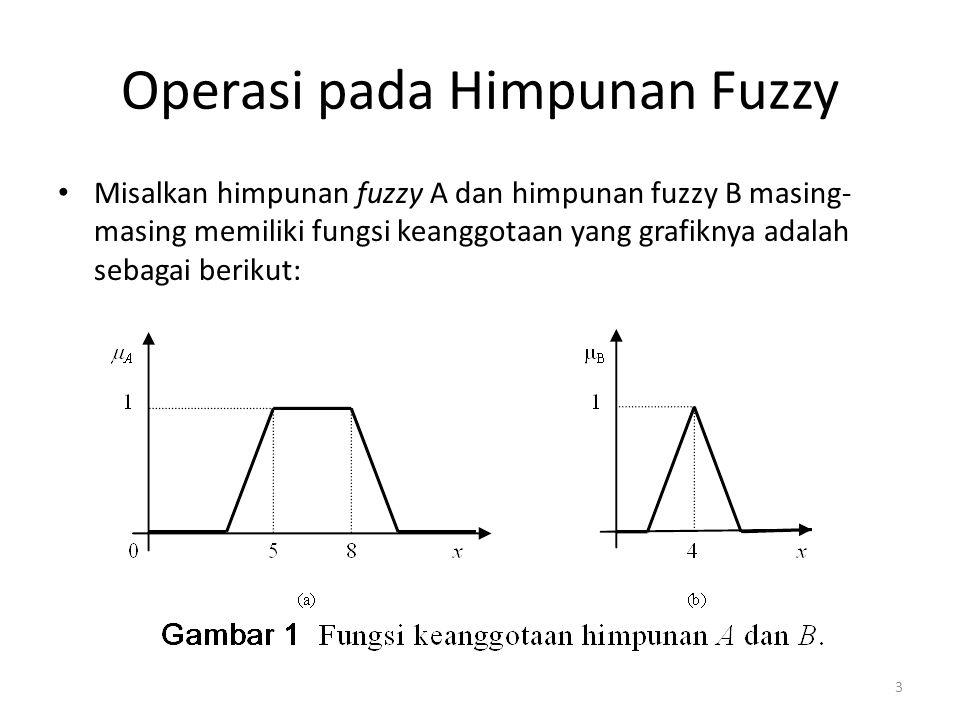 Operasi pada Himpunan Fuzzy Misalkan himpunan fuzzy A dan himpunan fuzzy B masing- masing memiliki fungsi keanggotaan yang grafiknya adalah sebagai berikut: 3