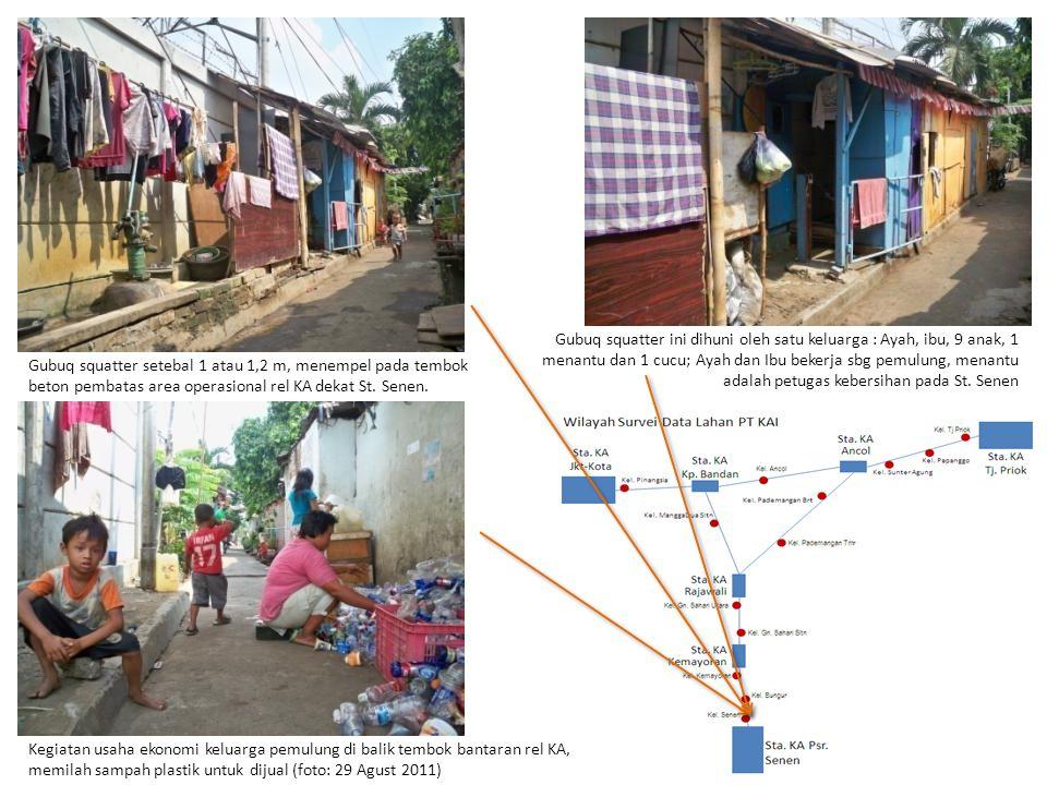Gubuq squatter ini dihuni oleh satu keluarga : Ayah, ibu, 9 anak, 1 menantu dan 1 cucu; Ayah dan Ibu bekerja sbg pemulung, menantu adalah petugas kebersihan pada St.