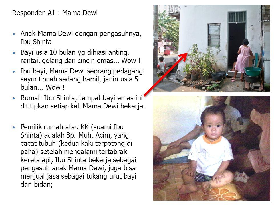 Responden A1 : Mama Dewi Anak Mama Dewi dengan pengasuhnya, Ibu Shinta Bayi usia 10 bulan yg dihiasi anting, rantai, gelang dan cincin emas...