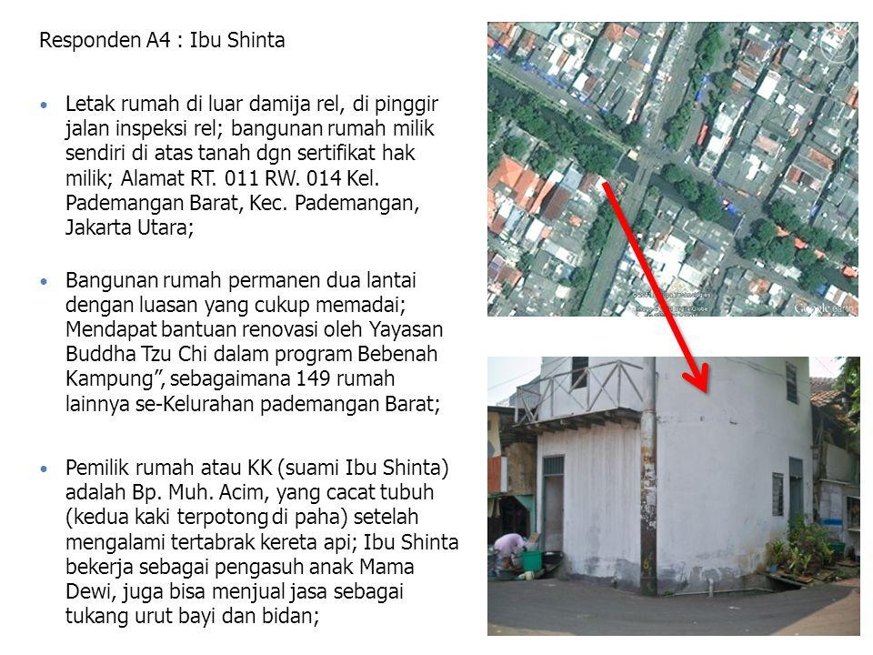 Responden A4 : Ibu Shinta Letak rumah di luar damija rel, di pinggir jalan inspeksi rel; bangunan rumah milik sendiri di atas tanah dgn sertifikat hak milik; Alamat RT.