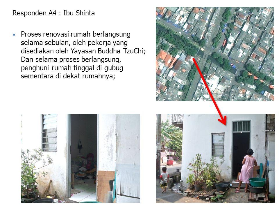 Responden A4 : Ibu Shinta Proses renovasi rumah berlangsung selama sebulan, oleh pekerja yang disediakan oleh Yayasan Buddha TzuChi; Dan selama proses berlangsung, penghuni rumah tinggal di gubug sementara di dekat rumahnya;