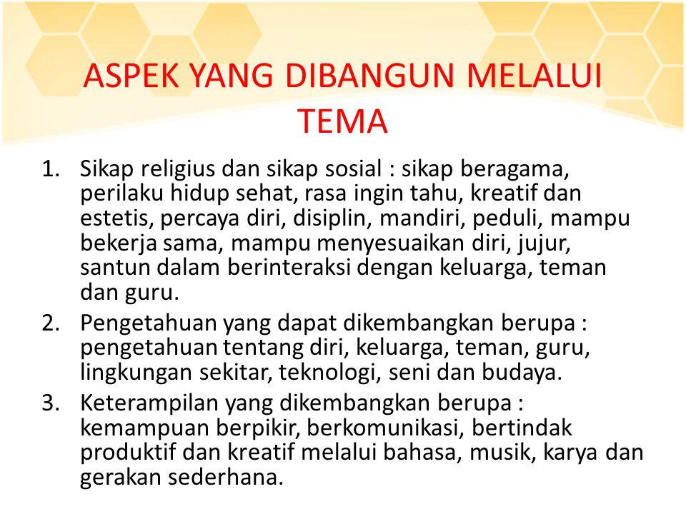 ASPEK YANG DIBANGUN MELALUI TEMA 1.Sikap religius dan sikap sosial : sikap beragama, perilaku hidup sehat, rasa ingin tahu, kreatif dan estetis, perca