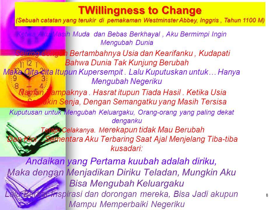 8 TWillingness to Change (Sebuah catatan yang terukir di pemakaman Westminster Abbey, Inggris, Tahun 1100 M) Ketika Aku Masih Muda dan Bebas Berkhayal