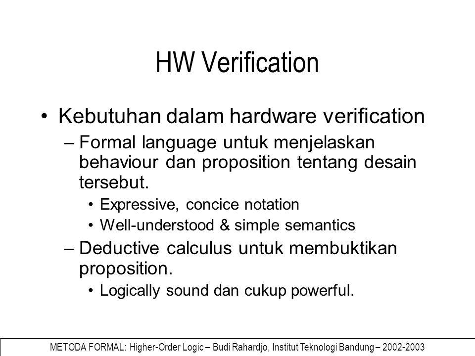 METODA FORMAL: Higher-Order Logic – Budi Rahardjo, Institut Teknologi Bandung – 2002-2003 Penggunaan higher-order logic Keuntungan –Tidak perlu mengembangkan bahasa baru (formal language) –Sudah ada landasan matematiknya –Sudah ada tools untuk membantu