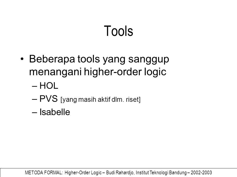 METODA FORMAL: Higher-Order Logic – Budi Rahardjo, Institut Teknologi Bandung – 2002-2003 Pengenalan HOL Banyak versi HOL Berbasis kepada HOL yang dikembangkan oleh Mike Gordon (Cambridge), yang berbasis kepada Church's simple type theory