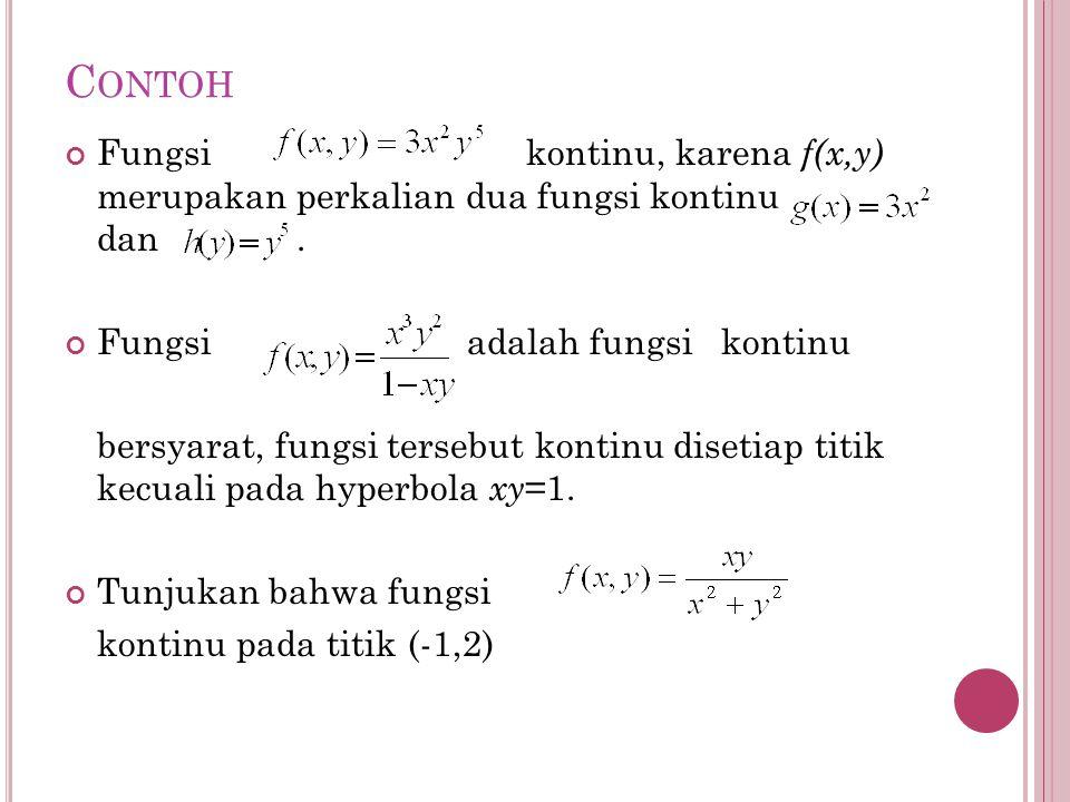 C ONTOH Fungsi kontinu, karena f(x,y) merupakan perkalian dua fungsi kontinu dan. Fungsi adalah fungsi kontinu bersyarat, fungsi tersebut kontinu dise