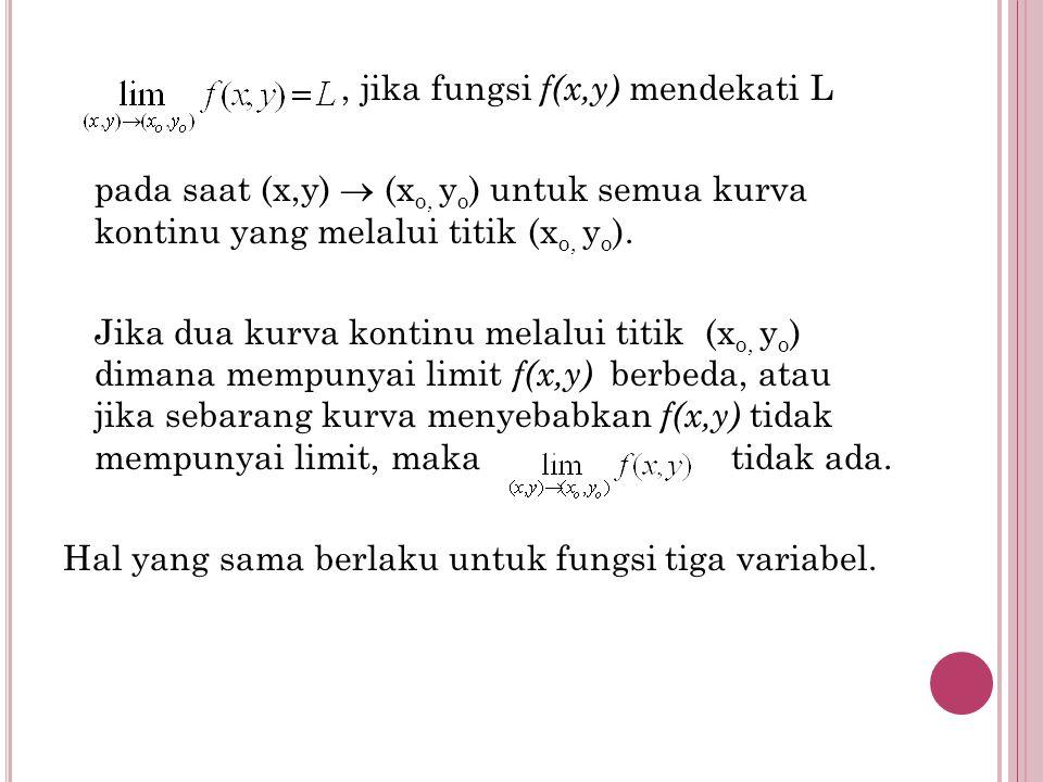 , jika fungsi f(x,y) mendekati L pada saat (x,y)  (x o, y o ) untuk semua kurva kontinu yang melalui titik (x o, y o ). Jika dua kurva kontinu melalu