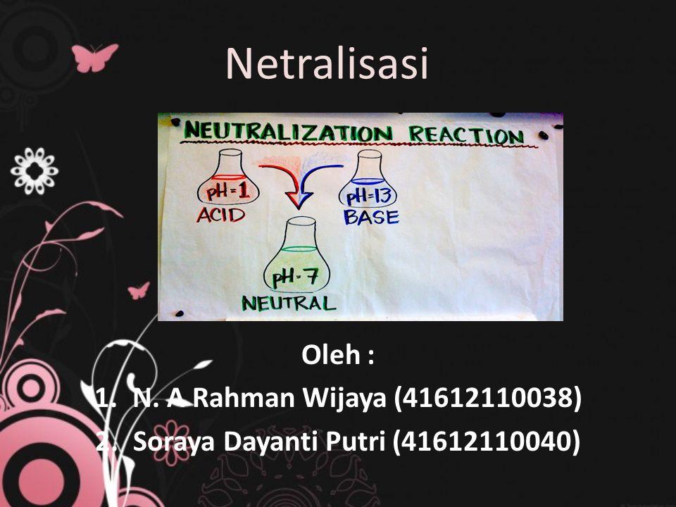 Netralisasi Oleh : 1.N. A Rahman Wijaya (41612110038) 2.Soraya Dayanti Putri (41612110040)