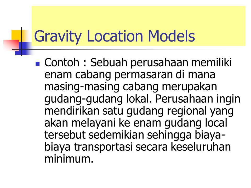 Gravity Location Models Contoh : Sebuah perusahaan memiliki enam cabang permasaran di mana masing-masing cabang merupakan gudang-gudang lokal. Perusah