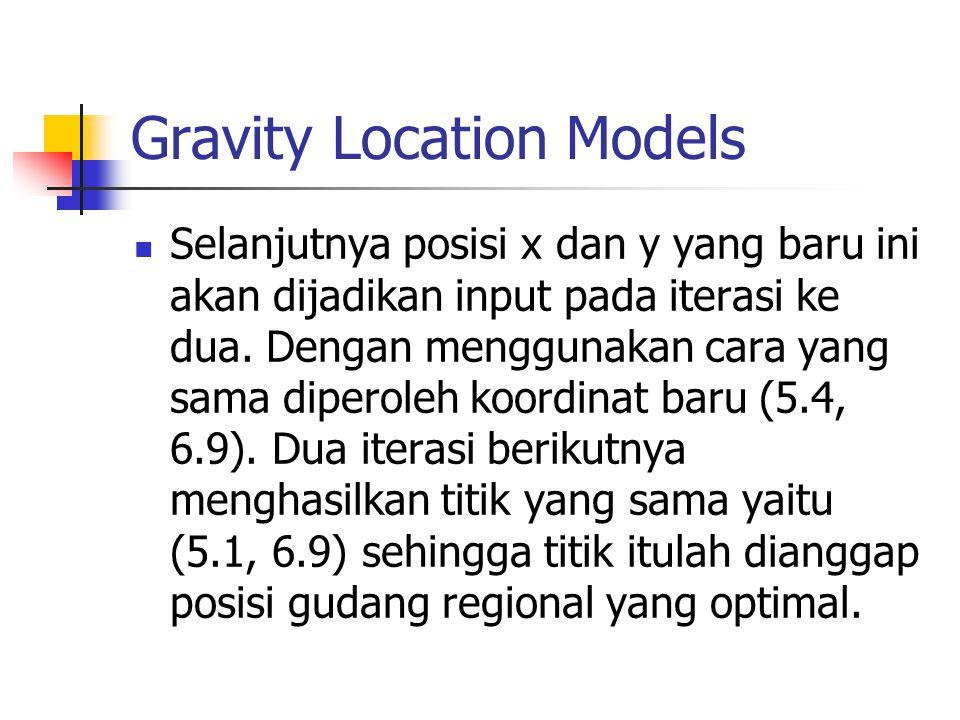 Gravity Location Models Selanjutnya posisi x dan y yang baru ini akan dijadikan input pada iterasi ke dua. Dengan menggunakan cara yang sama diperoleh