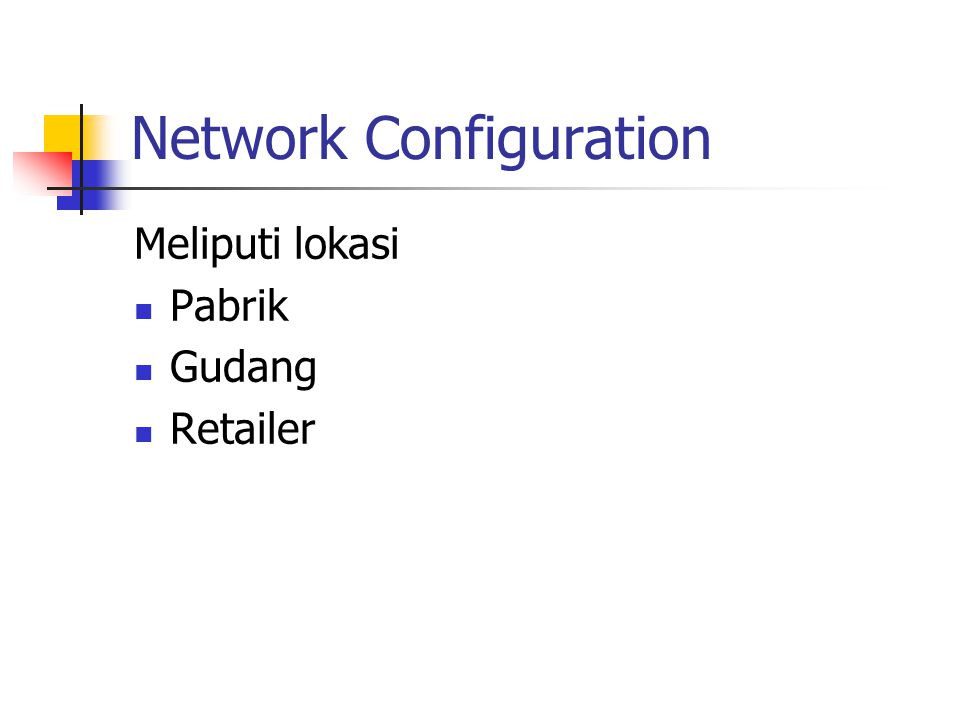 Network Configuration Meliputi lokasi Pabrik Gudang Retailer