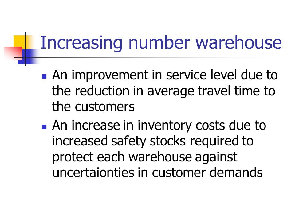 Increasing number warehouse An increase in overhead and setup costs A reduction in outbound transportation costs: transportation cost from the warehouses to the customers An increase in inbound transportation costs: transportation cost from the suppliers and/or manufacturers to the warehouse