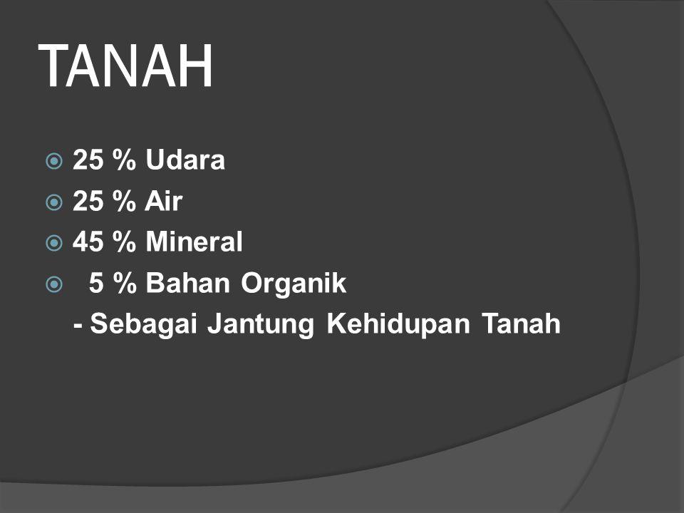 TANAH  25 % Udara  25 % Air  45 % Mineral  5 % Bahan Organik - Sebagai Jantung Kehidupan Tanah