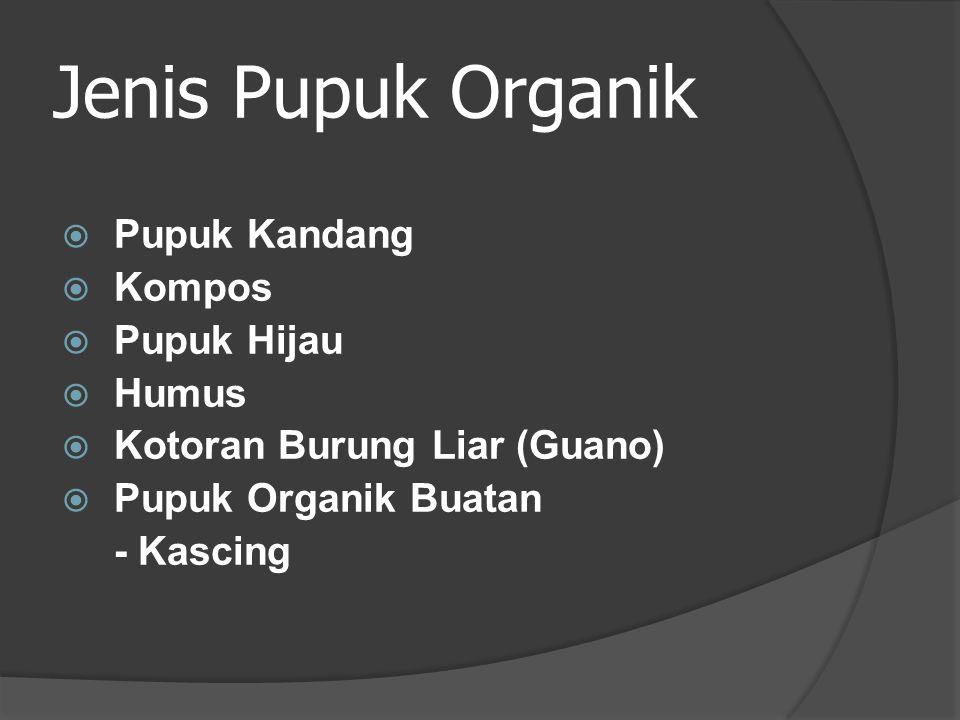 Jenis Pupuk Organik  Pupuk Kandang  Kompos  Pupuk Hijau  Humus  Kotoran Burung Liar (Guano)  Pupuk Organik Buatan - Kascing