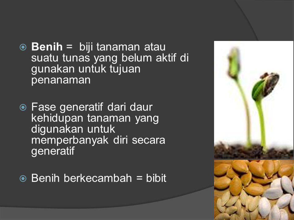  Benih = biji tanaman atau suatu tunas yang belum aktif di gunakan untuk tujuan penanaman  Fase generatif dari daur kehidupan tanaman yang digunakan untuk memperbanyak diri secara generatif  Benih berkecambah = bibit