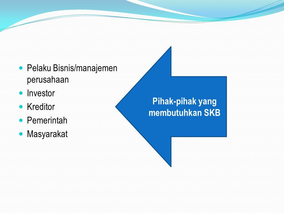 Pelaku Bisnis/manajemen perusahaan Investor Kreditor Pemerintah Masyarakat Pihak-pihak yang membutuhkan SKB