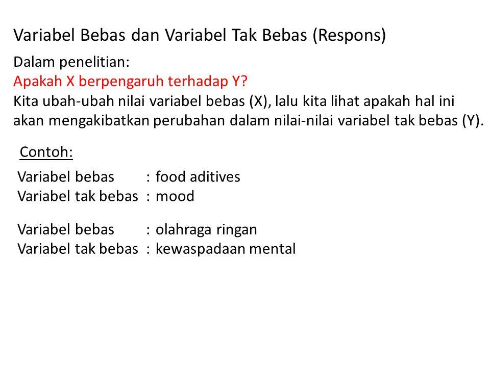 Variabel Bebas dan Variabel Tak Bebas (Respons) Dalam penelitian: Apakah X berpengaruh terhadap Y.
