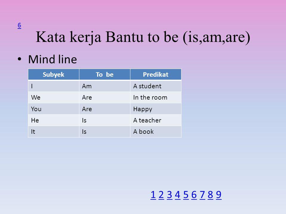 Kata kerja Bantu to be (is,am,are) Mind line SubyekTo bePredikat IAmA student WeAreIn the room YouAreHappy HeIsA teacher ItIsA book 6 1 2 3 4 5 6 7 8 91 2 3 4 5 6 7 8 9