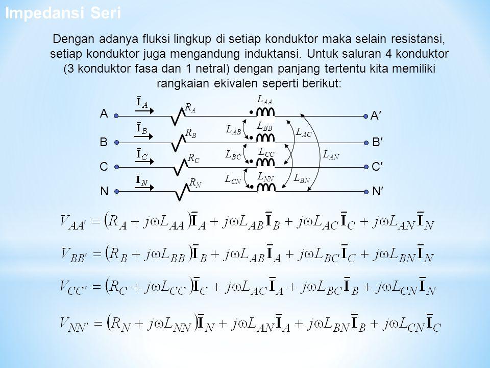    L AB L BC RCRC  L AA L BB L CC L NN L CN L AC L BN L AN RARA RBRB RNRN A B C NN′ C′ B′ A′ Dengan adanya fluksi lingkup di setiap konduktor maka