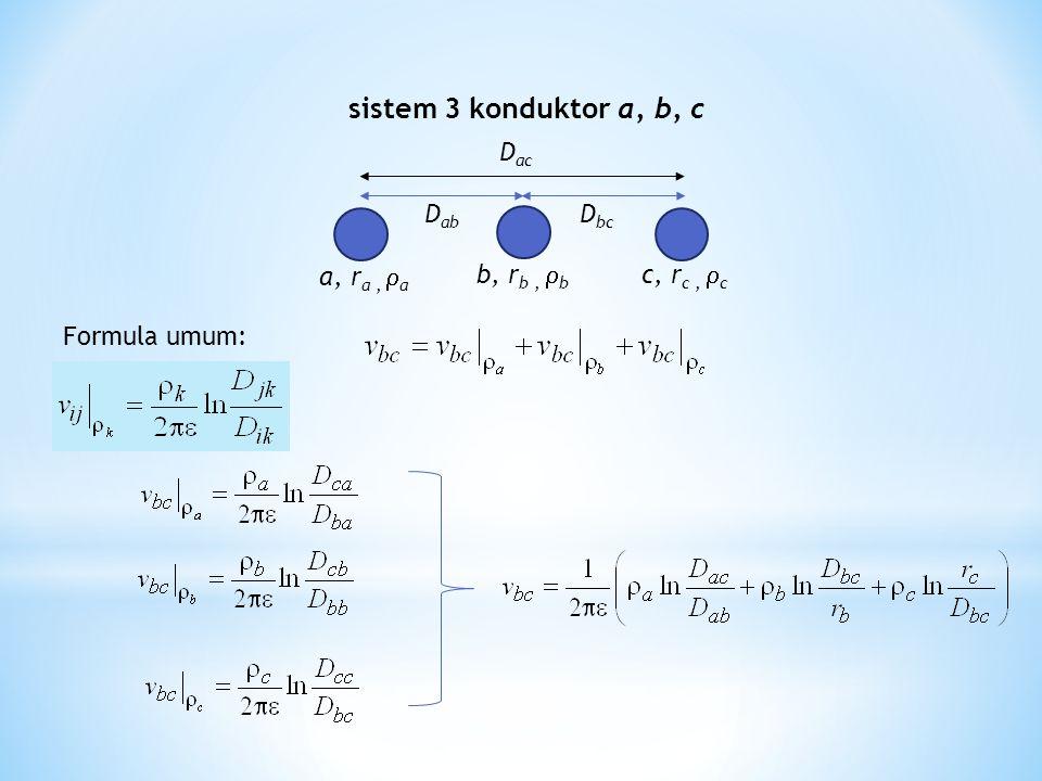 D ab a, r a,  a D ac D bc c, r c,  c b, r b,  b sistem 3 konduktor a, b, c Formula umum: