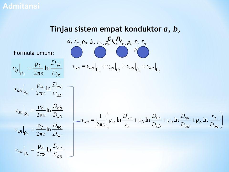 Admitansi Tinjau sistem empat konduktor a, b, c, n. c, r c,  c b, r b,  b a, r a,  a n, r n,  n Formula umum:
