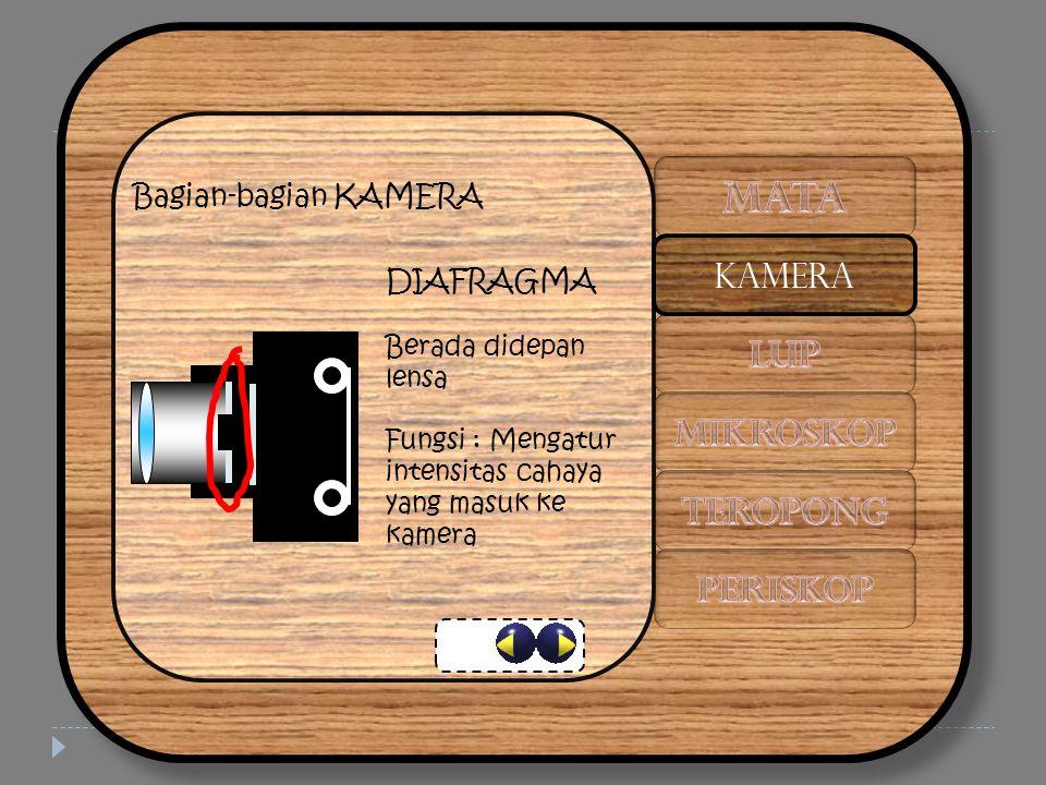 Bagian-bagian KAMERA DIAFRAGMA Berada didepan lensa Fungsi : Mengatur intensitas cahaya yang masuk ke kamera KAMERA