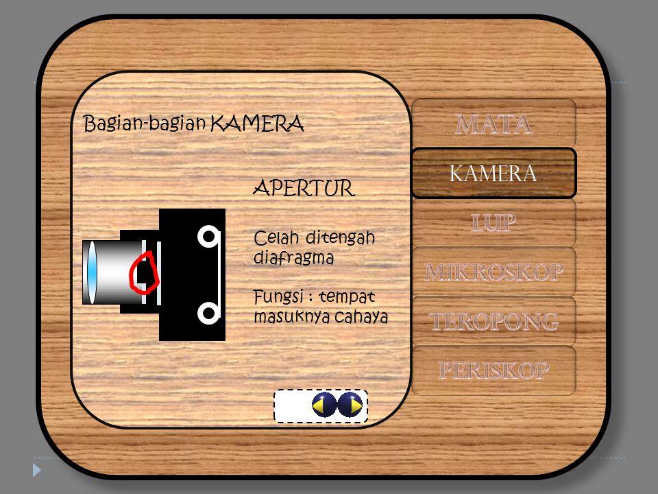 Bagian-bagian KAMERA APERTUR Celah ditengah diafragma Fungsi : tempat masuknya cahaya KAMERA