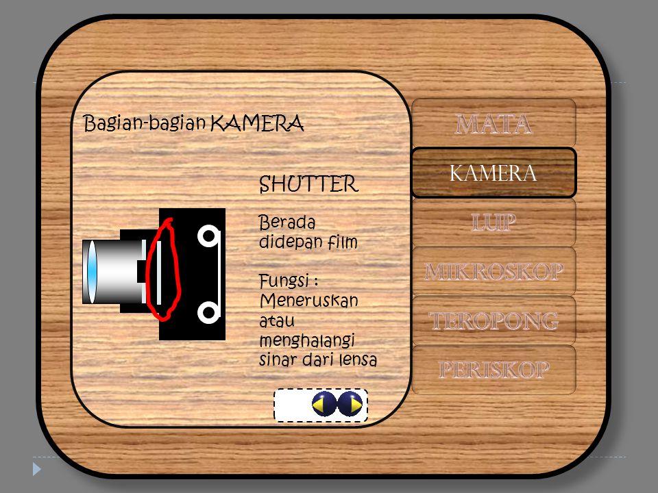 Bagian-bagian KAMERA SHUTTER Berada didepan film Fungsi : Meneruskan atau menghalangi sinar dari lensa KAMERA