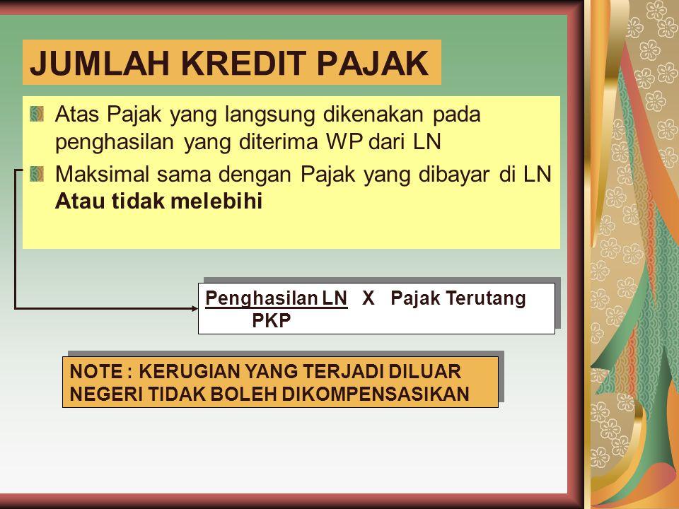 Contoh Soal Data PKP PT ABC untuk tahun 20x1 Penghasilan Dalam Negeri = 1.000.000.000 Penghasilan LN A (pajak 15%) = 500.000.000 Penghasilan LN B (pajak 20%) = 250.000.000 Penghasilan LN C (pajak 10%) = (200.000.000) Berapakah batas maksimum kredit pajak?)