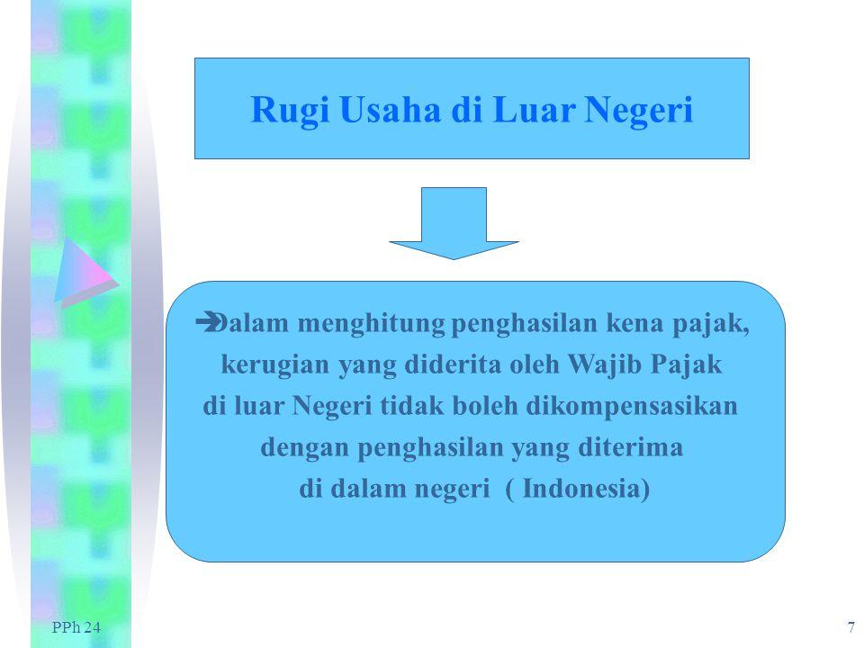 PPh 24 7 Rugi Usaha di Luar Negeri  Dalam menghitung penghasilan kena pajak, kerugian yang diderita oleh Wajib Pajak di luar Negeri tidak boleh dikompensasikan dengan penghasilan yang diterima di dalam negeri ( Indonesia)