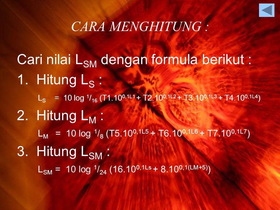 CARA MENGHITUNG : Cari nilai L SM dengan formula berikut : 1.
