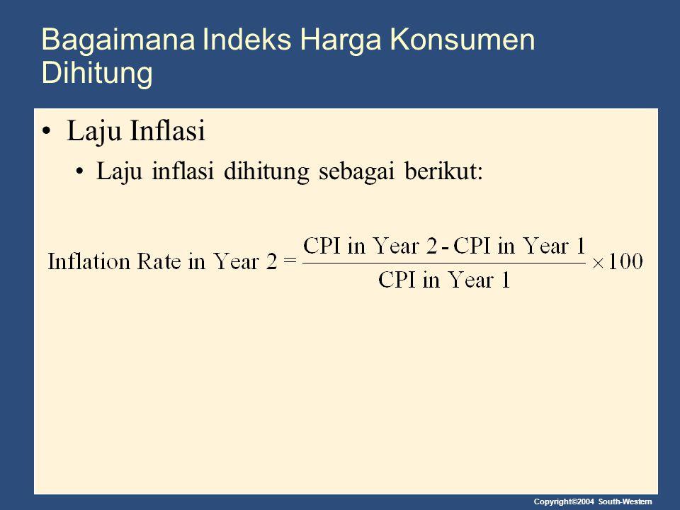 Copyright©2004 South-Western Bagaimana Indeks Harga Konsumen Dihitung Laju Inflasi Laju inflasi dihitung sebagai berikut: