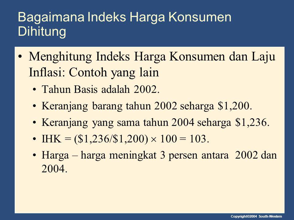 Bagaimana Indeks Harga Konsumen Dihitung Menghitung Indeks Harga Konsumen dan Laju Inflasi: Contoh yang lain Tahun Basis adalah 2002. Keranjang barang