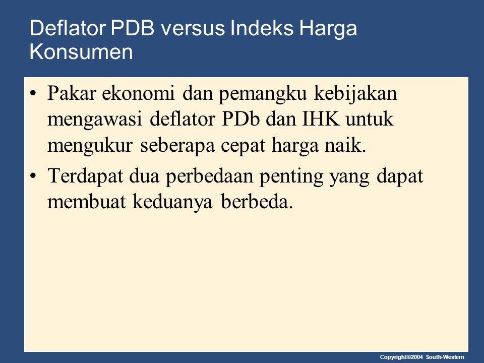 Copyright©2004 South-Western Deflator PDB versus Indeks Harga Konsumen Pakar ekonomi dan pemangku kebijakan mengawasi deflator PDb dan IHK untuk mengu