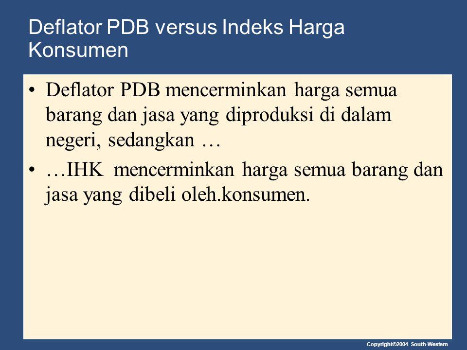 Copyright©2004 South-Western Deflator PDB versus Indeks Harga Konsumen Deflator PDB mencerminkan harga semua barang dan jasa yang diproduksi di dalam