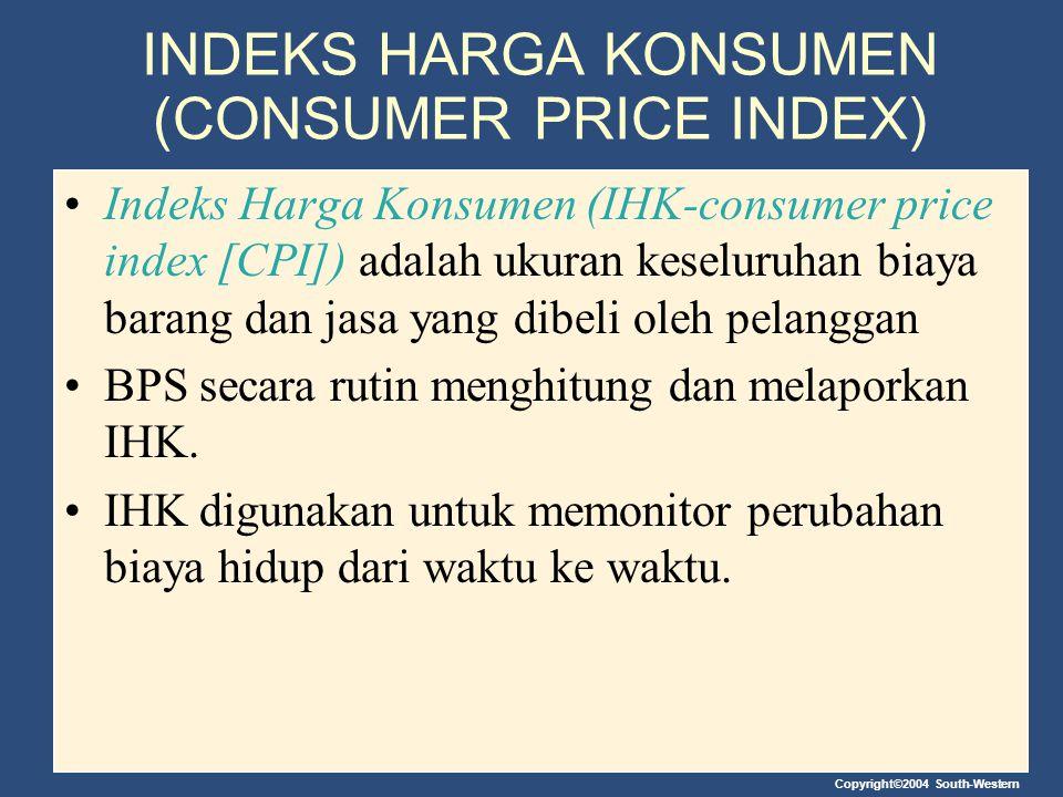 Copyright©2004 South-Western INDEKS HARGA KONSUMEN (CONSUMER PRICE INDEX) Indeks Harga Konsumen (IHK-consumer price index [CPI]) adalah ukuran keselur