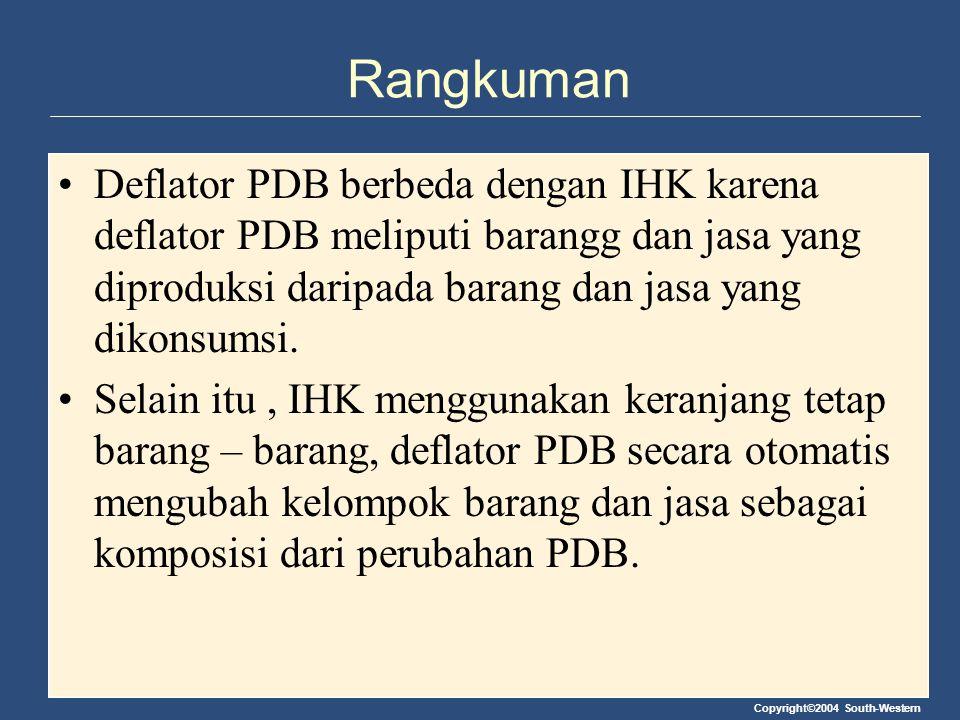 Copyright©2004 South-Western Rangkuman Deflator PDB berbeda dengan IHK karena deflator PDB meliputi barangg dan jasa yang diproduksi daripada barang d
