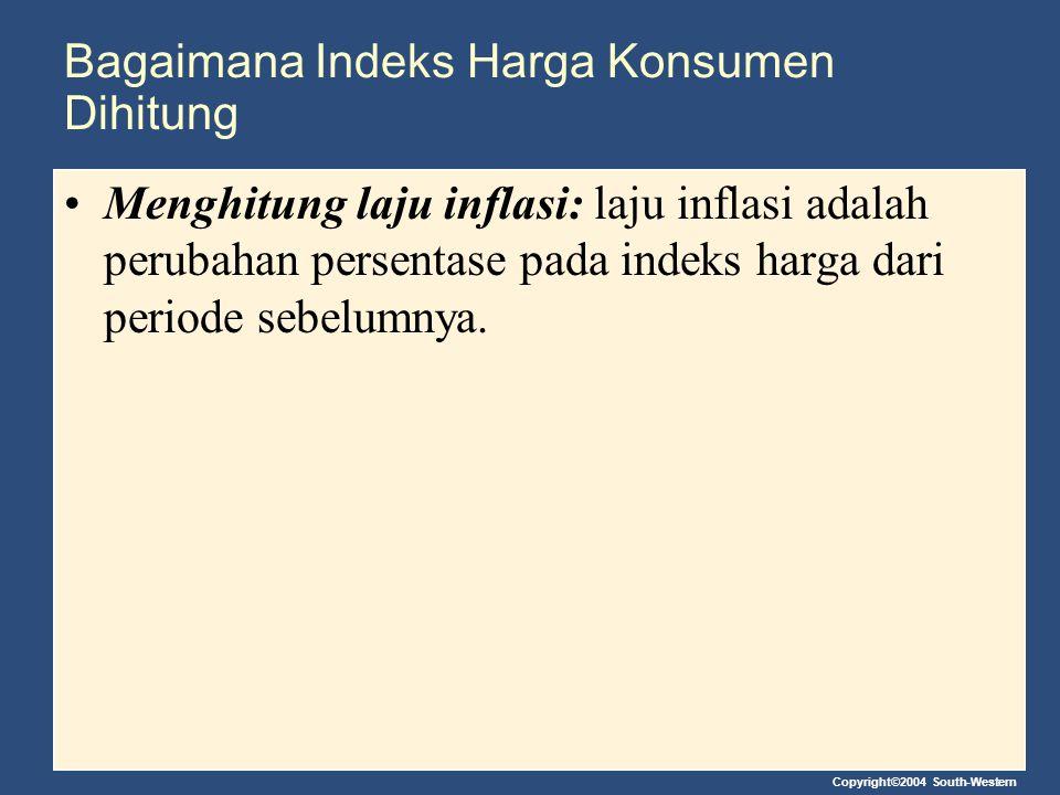 Copyright©2004 South-Western Bagaimana Indeks Harga Konsumen Dihitung Menghitung laju inflasi: laju inflasi adalah perubahan persentase pada indeks ha