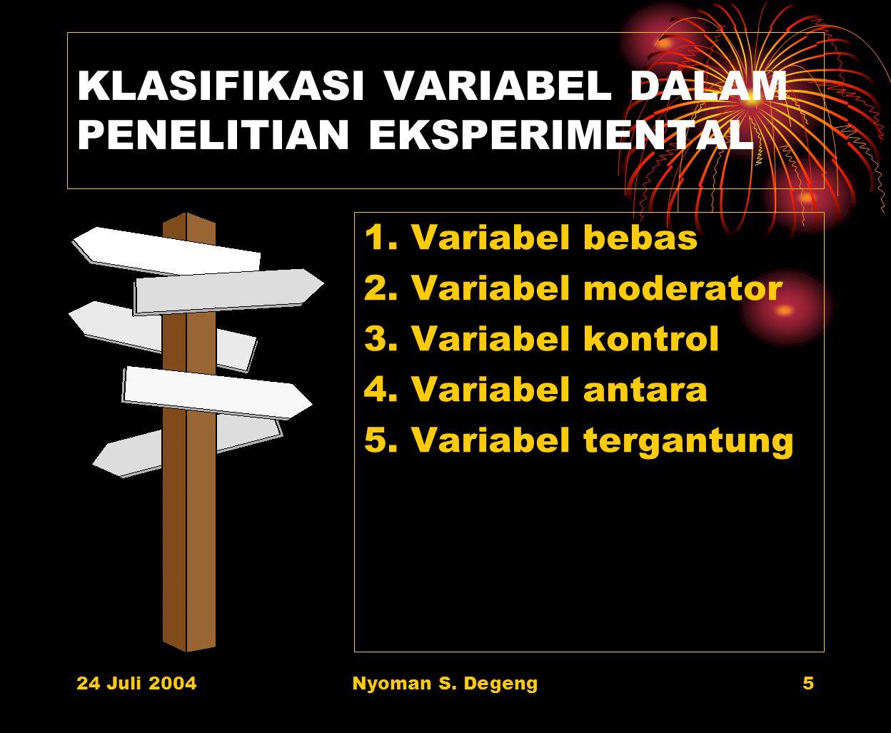 24 Juli 2004Nyoman S. Degeng4 CONTOH JUDUL PENELITIAN Variabel Penelitian: (1) Pemberian Pekerjaan Rumah (2) Hasil Belajar Matematika Jenis Hubungan A