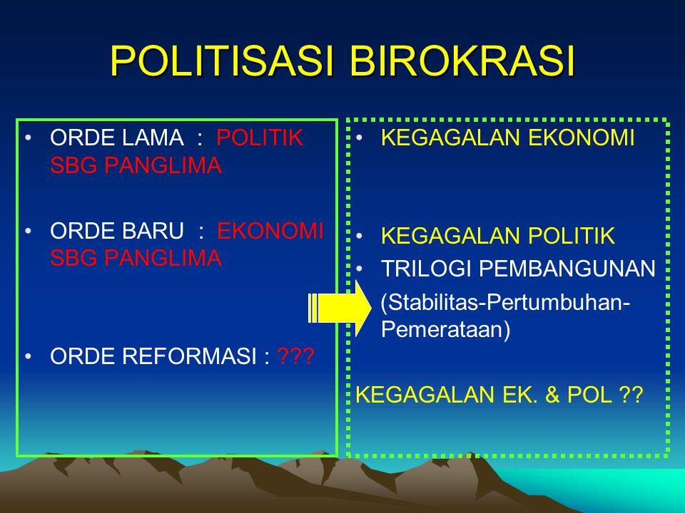 POLITISASI BIROKRASI ORDE LAMA : POLITIK SBG PANGLIMA ORDE BARU : EKONOMI SBG PANGLIMA ORDE REFORMASI : ??? KEGAGALAN EKONOMI KEGAGALAN POLITIK TRILOG