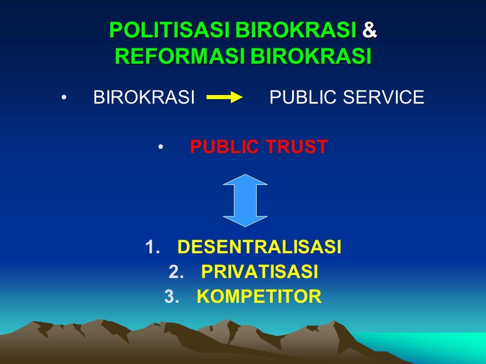 POLITISASI BIROKRASI & REFORMASI BIROKRASI BIROKRASI PUBLIC SERVICE PUBLIC TRUST 1.DESENTRALISASI 2.PRIVATISASI 3.KOMPETITOR