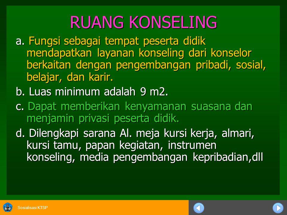 Sosialisasi KTSP RUANG KONSELING a. Fungsi sebagai tempat peserta didik mendapatkan layanan konseling dari konselor berkaitan dengan pengembangan prib