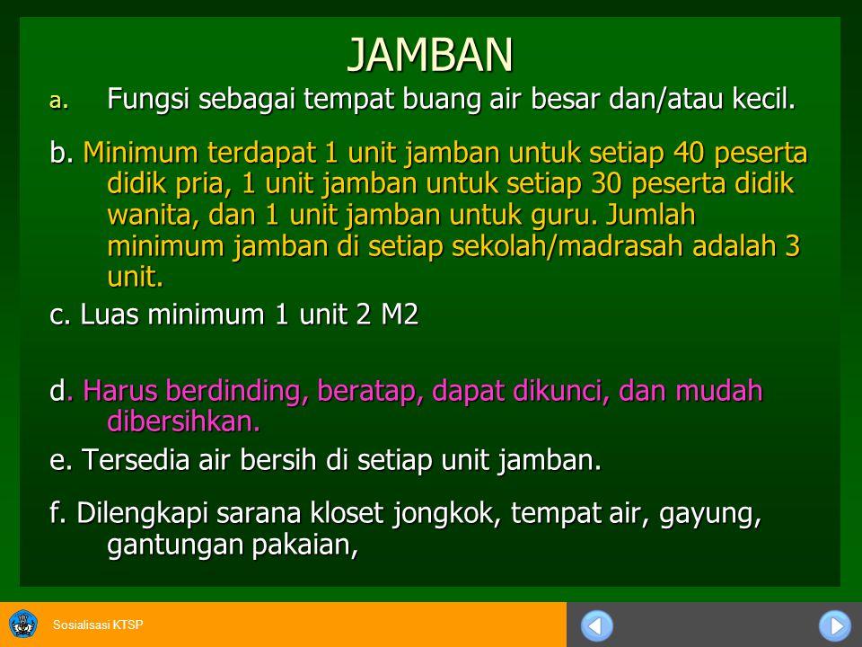 Sosialisasi KTSP JAMBAN a. Fungsi sebagai tempat buang air besar dan/atau kecil. b. Minimum terdapat 1 unit jamban untuk setiap 40 peserta didik pria,