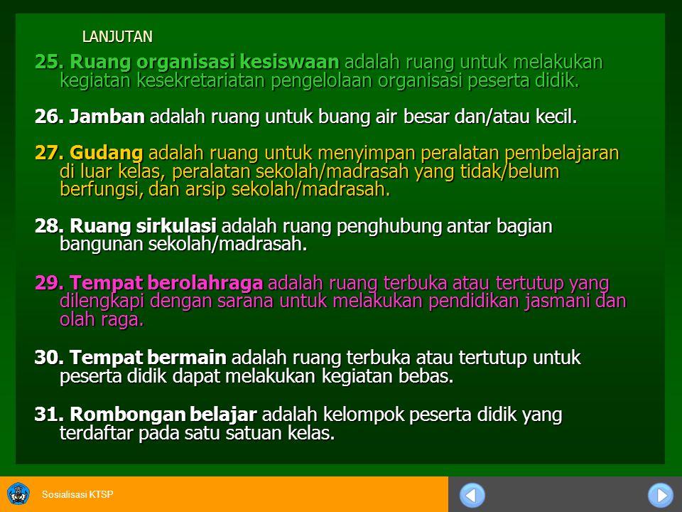 Sosialisasi KTSP JAMBAN a.Fungsi sebagai tempat buang air besar dan/atau kecil.